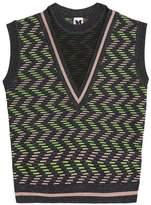 M Missoni Metallic Printed Crochet-Knit Top