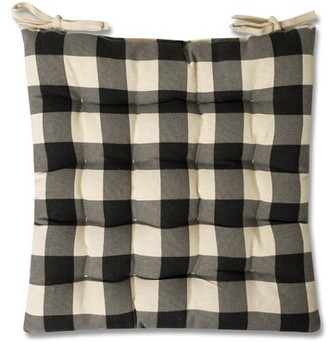 Gracie Oaks Tufted Buffalo Check Indoor Dining Chair Cushion Fabric: Black
