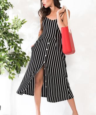 Milan Kiss Women's Casual Dresses BLACK-STRIPED - Black Stripe Pocket Button-Accent Sleeveless Dress - Women