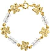"""In Season Jewelry 18k Gold Plated Clear Teddy Bear Baby Infant Newborn Bracelet 4.5"""""""