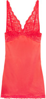 Mimi Holliday Lace-trimmed silk-satin chemise