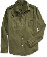 GUESS Men's Twill Embroidered Military Shirt