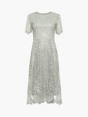 Phase Eight Malia Sequin Lace Dress, Petal