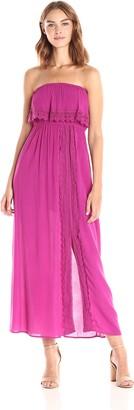 Taylor & Sage Women's Off The Shoulder Maxi Dress with Lace Trim