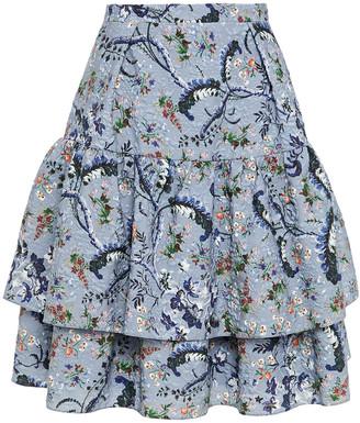 Erdem Aine Tiered Floral-print Matelasse Mini Skirt