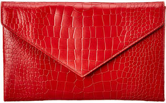 Alaia Croc-Embossed Leather Clutch