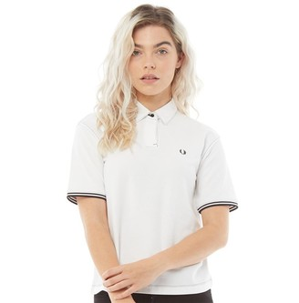 Fred Perry Womens Contrast Stitch Pique Shirt White