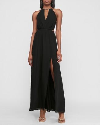 Express Side Cut-Out Halter Maxi Dress