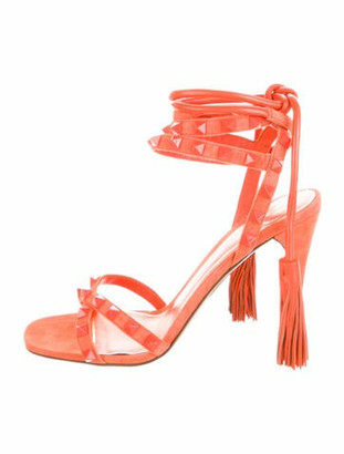 Valentino Rockstud Accents Suede Sandals Orange