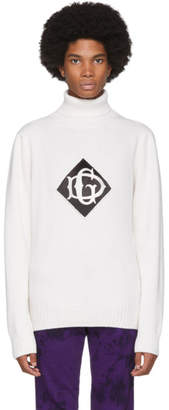 Dolce & Gabbana White Wool Logo Turtleneck