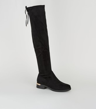 New Look Wide Fit Metal Trim Over the Knee Boots