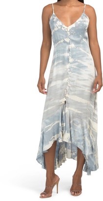 Juniors Tie Dye Ruffle Maxi Dress