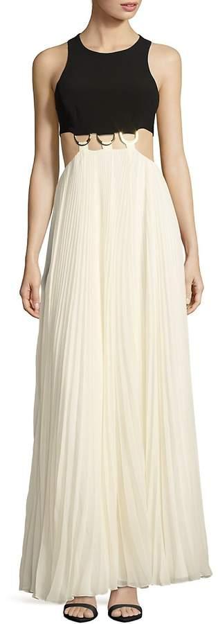 Halston Women's Jewelneck Colorblock Gown - Black