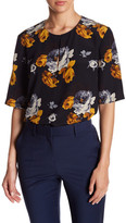 Theory Antazie Floral Silk Keyhole Blouse