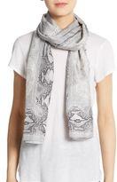 Roberto Cavalli Silk Logo Lace & Python-Print Scarf