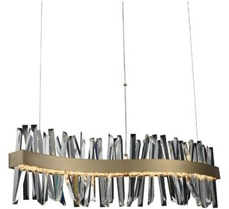 Everly Quinn Glick 1 - Light Kitchen Island Linear Pendant with Crystal Accents Finish: Brushed Champagne Gold