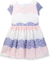 Blush by Us Angels Cap Sleeve Allover Stripe Lace Dress (Big Girls)