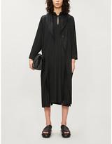 Pleats Please Issey Miyake Mandarin-collar woven midi dress