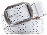 Aivtalk Lady Leather Vintage Hollow Flower Wide Metal Pin Buckle Waist Belt