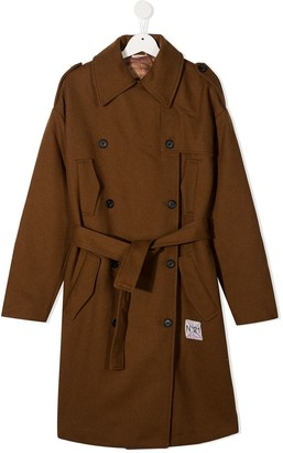 No21 Kids TEEN double-breasted belted coat