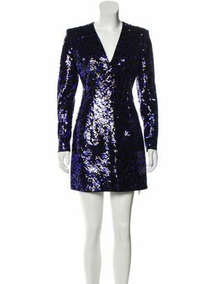 Balmain Plunge Neckline Mini Dress Purple