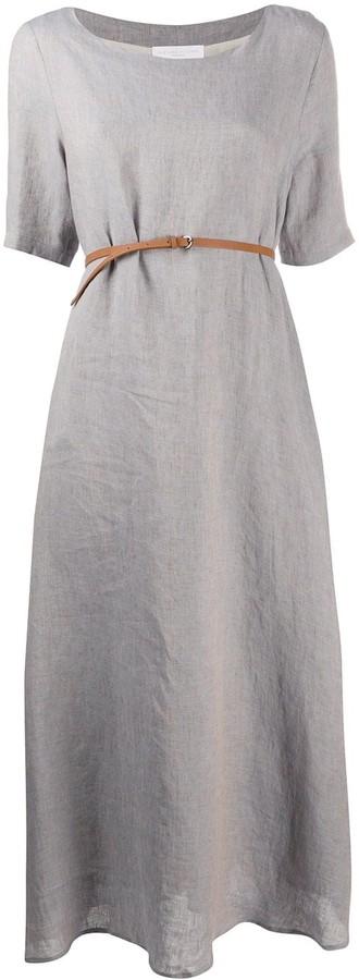 Fabiana Filippi Belted Linen Maxi Dress