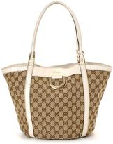 Gucci Pre-Owned Beige GG Monogram Tote With Gold-Tone Detail