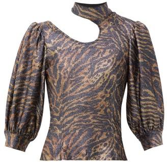 Ganni Tiger-print Puff-sleeve Lurex-knit Top - Animal