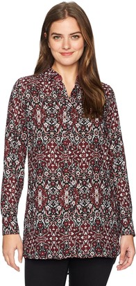 Foxcroft Women's Long Sleeve Jade Heirloom Paisley Tunic