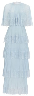 Self-Portrait Pleated Tiered Cape Dress