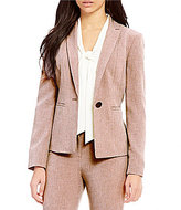 Kasper Long-Sleeve Twill One-Button Blazer