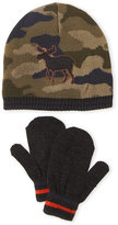 Little Me Toddler Boys) Two-Piece Reversible Camo Moose Beanie & Mittens Set