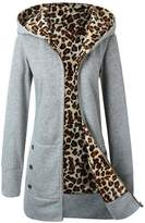 Women Coat Changeshopping 1PC Plus Velvet Thickened Hooded Sweater Leopard Zipper (XL, )