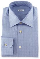 Kiton Menswear Glen Plaid Woven Dress Shirt, Blue