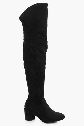 boohoo Extra Wide Fit Block Heel Over The Knee Boots