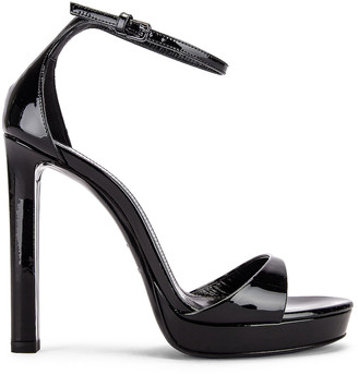 Saint Laurent Hall Ankle Strap Sandals in Black | FWRD