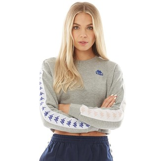 Kappa Womens Authentic 222 Banda Bacroy Cropped Crew Neck Top Grey Marl/Blue/Pink