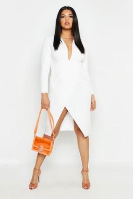 boohoo Plus Plunge Wrap Midi Dress