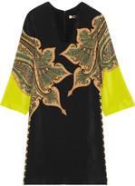 Etro Paisley-print Silk Crepe De Chine Dress - Black