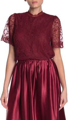 Everleigh Romantic Embroidered Mock Neck Mesh Blouse