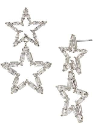 Betsey Johnson Silvertone Crystal Star Double Drop Earrings