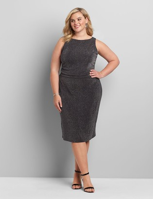 Lane Bryant Shirred-Side Metallic Fit & Flare Dress