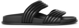 Alaia Black leather flat sandals