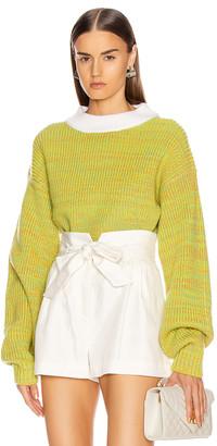 Tibi Wool Tweedy Cropped Sweater in Green Multi | FWRD