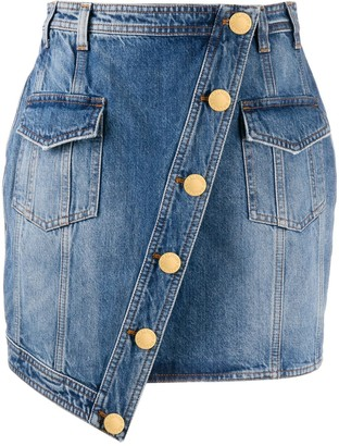 Balmain Asymmetric Denim Skirt