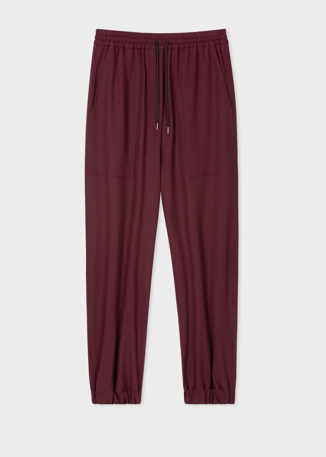 Thumbnail for your product : Paul Smith Women's Burgundy Wool-Stretch Cuffed Sweatpants
