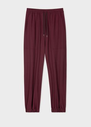Paul Smith Women's Burgundy Wool-Stretch Cuffed Sweatpants