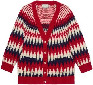 Gucci Zigzag jacquard wool cardigan