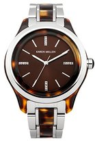 Karen Millen Women's Quartz Watch with Brown Dial Analogue Display and Brown Stainless Steel Bracelet KM142TM