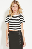 Forever 21 FOREVER 21+ Contemporary Boxy Sheeny Stripe Top